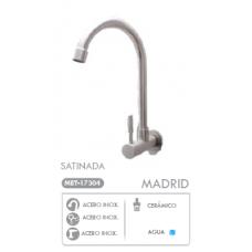 Grifería Madrid satinada pared, una llave para lavaplatos